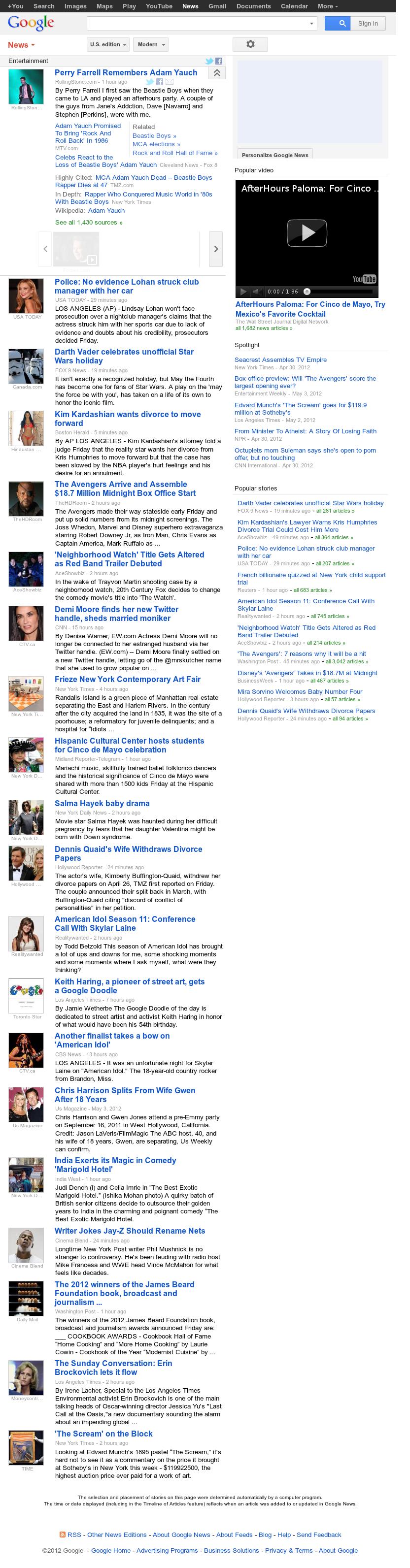 Google News: Entertainment at Saturday May 5, 2012, 4:06 a.m. UTC