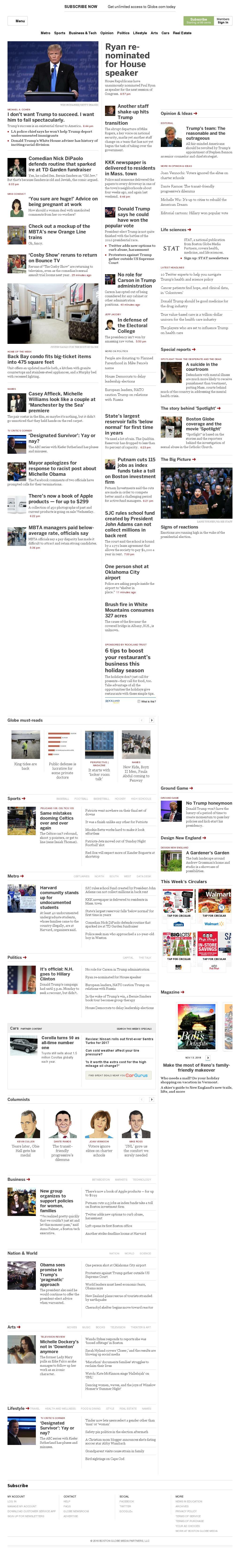 The Boston Globe at Tuesday Nov. 15, 2016, 8:01 p.m. UTC