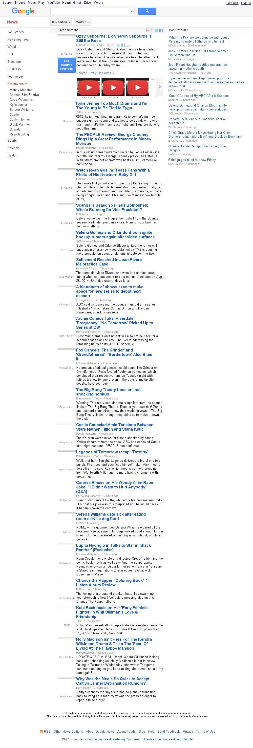 Google News: Entertainment at Friday May 13, 2016, 9:07 a.m. UTC