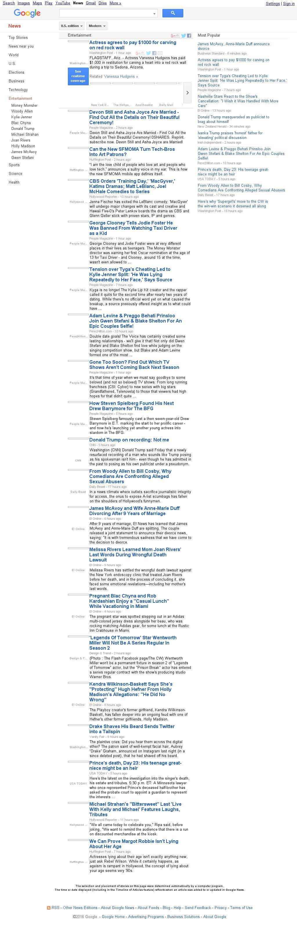 Google News: Entertainment at Saturday May 14, 2016, 4:08 a.m. UTC