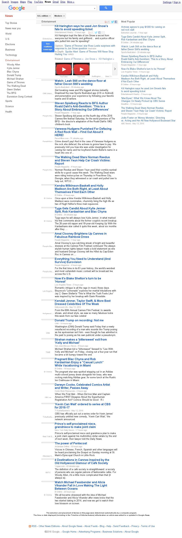 Google News: Entertainment at Saturday May 14, 2016, 6:07 p.m. UTC