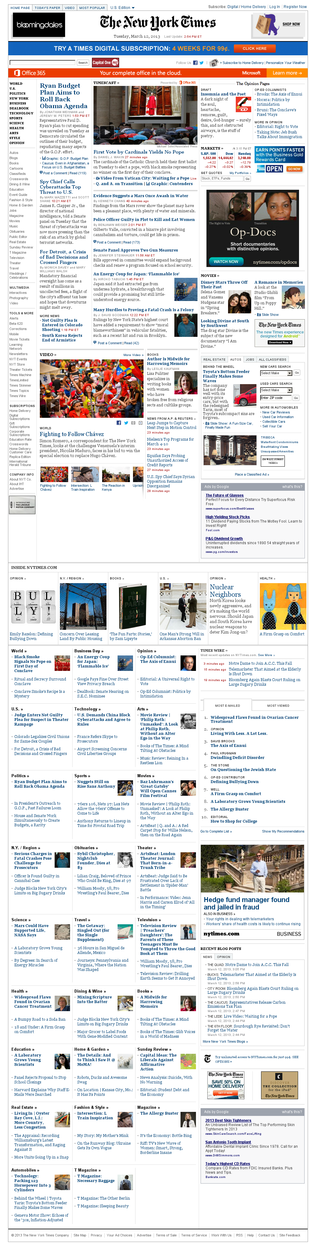 The New York Times at Tuesday March 12, 2013, 7:15 p.m. UTC