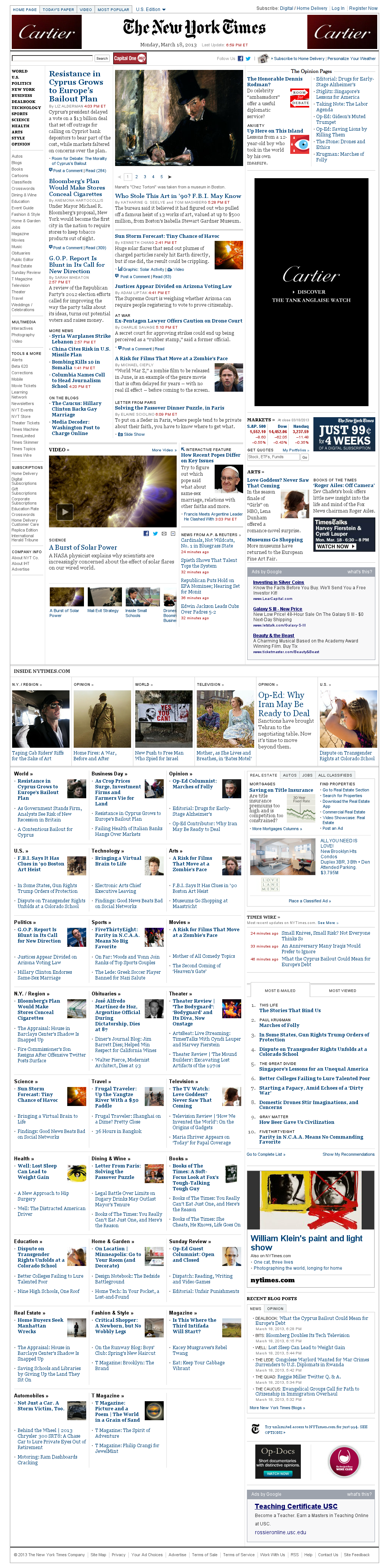 The New York Times at Monday March 18, 2013, 11:20 p.m. UTC