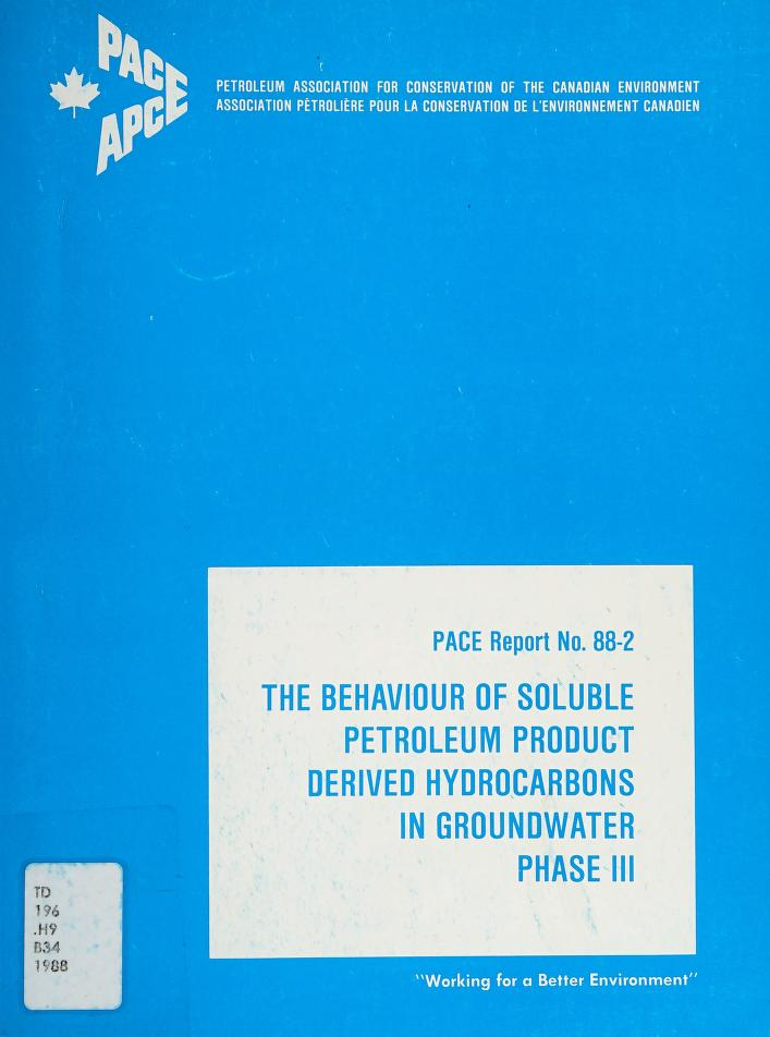 The behaviour of soluble petroleum product derived hydrocarbons in groundwater, phase II by G. C. Patrick