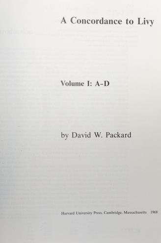 Cover of: A concordance to Livy | David W. Packard