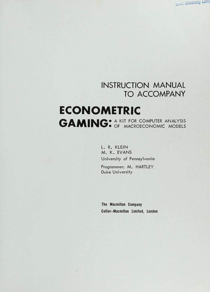 Econometric gaming by Lawrence Robert Klein