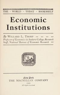 Cover of: Economic institutions | Willard Long Thorp