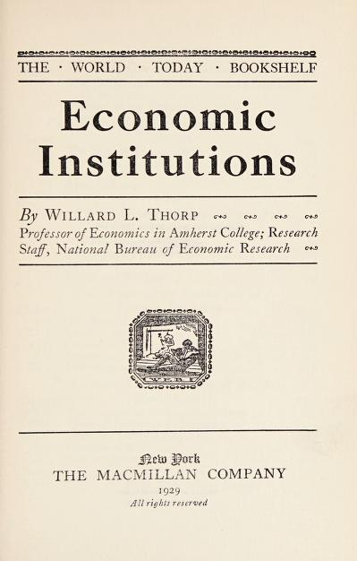 Economic institutions by Willard Long Thorp