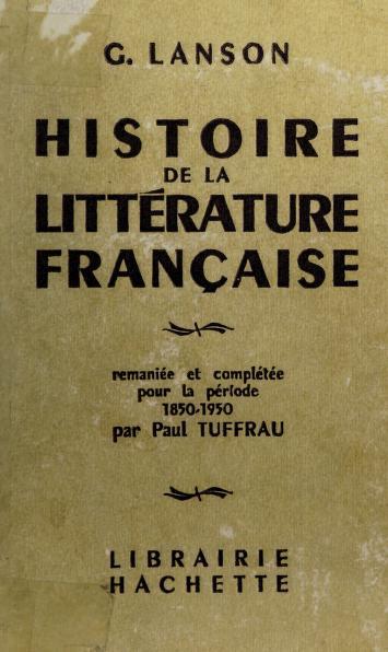 Histoire de la littérature française by Lanson, Gustave