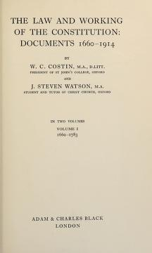 Cover of: The law and working of the constitution | William Conrad Costin