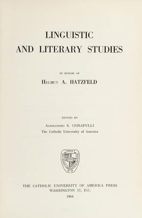 Cover of: Linguistic and literary studies in honor of Helmut A. Hatzfeld | Alessandro S. Crisafulli
