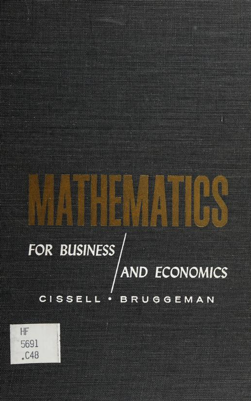 Mathematics for business and economics by Robert Cissell